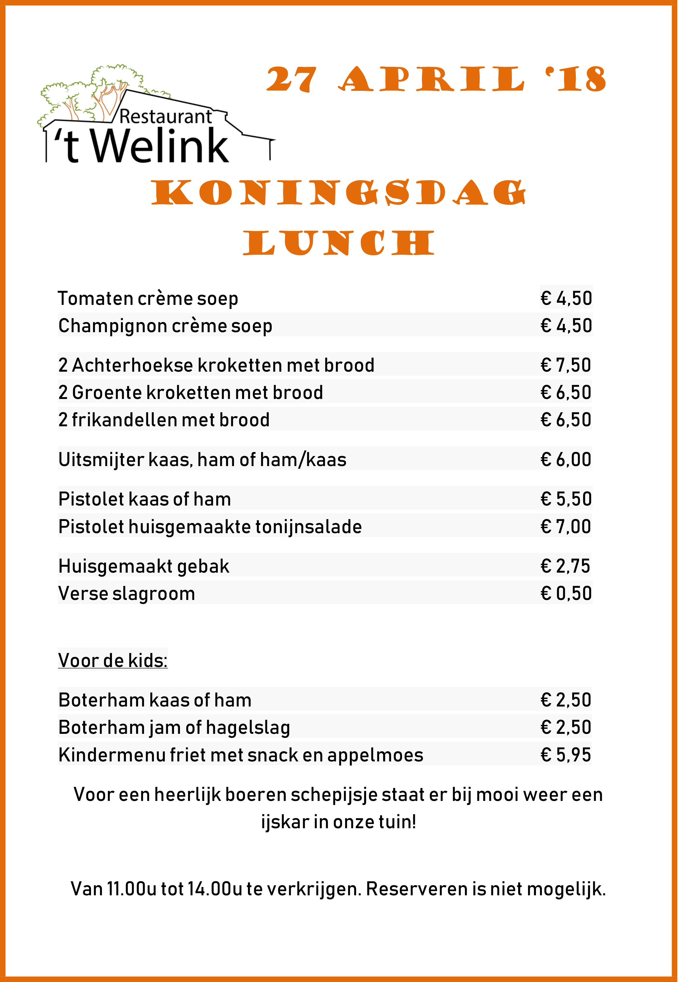Koningsdagmenu lunch
